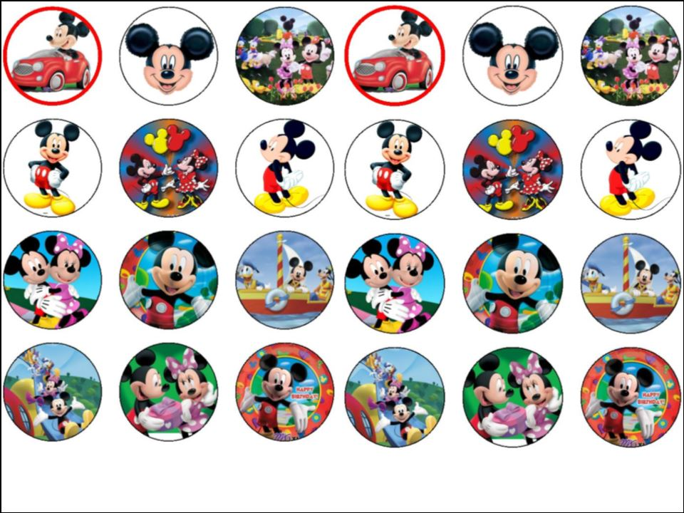24 Micky Minnie Mouse Clubhouse Edible Wafer Rice Cup Cake Toppers