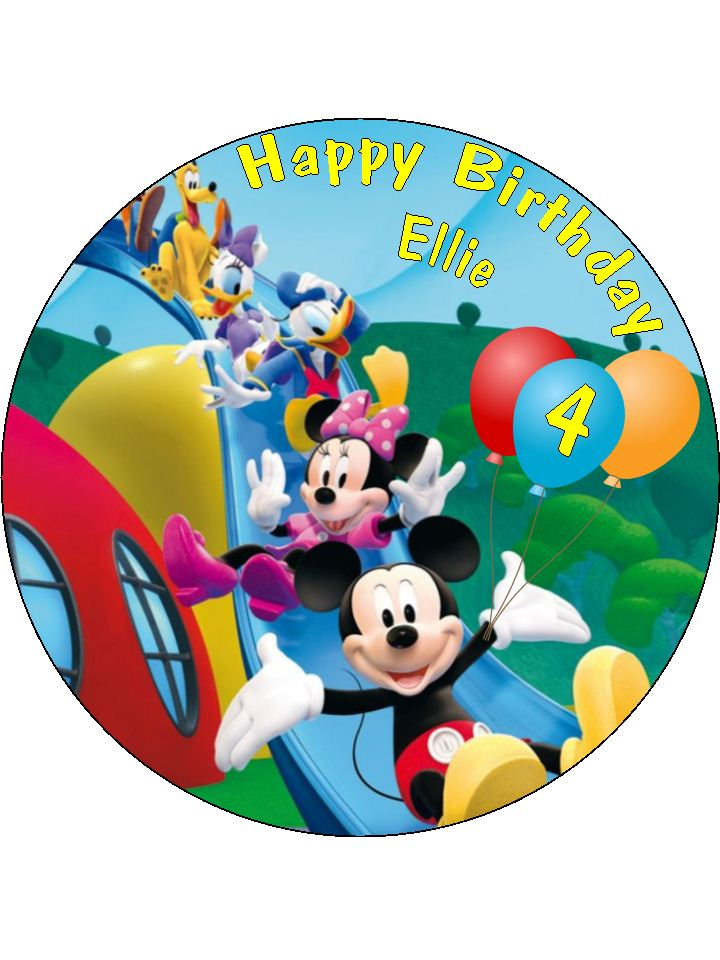7 5 Personalised Mickey Mouse Clubhouse Icing Or Wafer Cake Top Topper