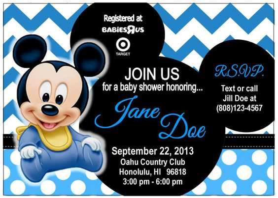 Baby Shower Baby Mickey Mouse Invitation