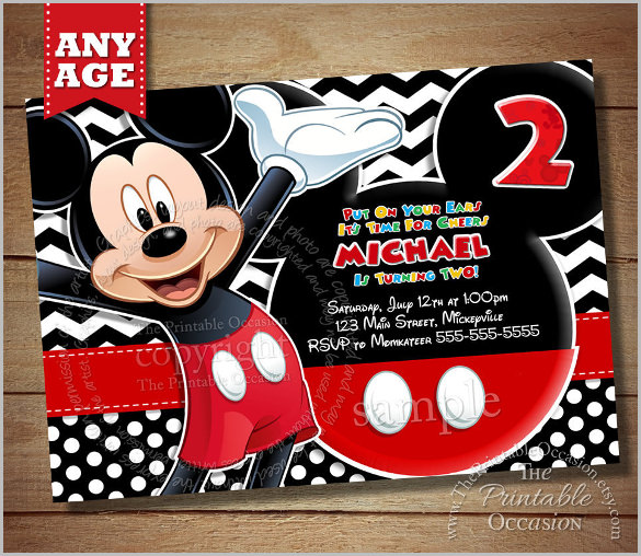 Black Chevron Mickey Mouse Invitation