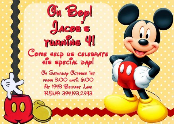 Cool Mickey Mouse Birthday Invitation