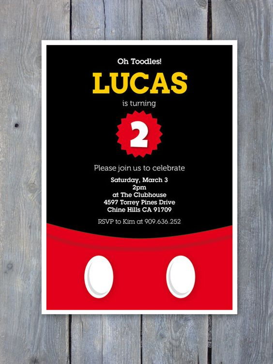 Mickey Mouse Invitation For Birthday Party