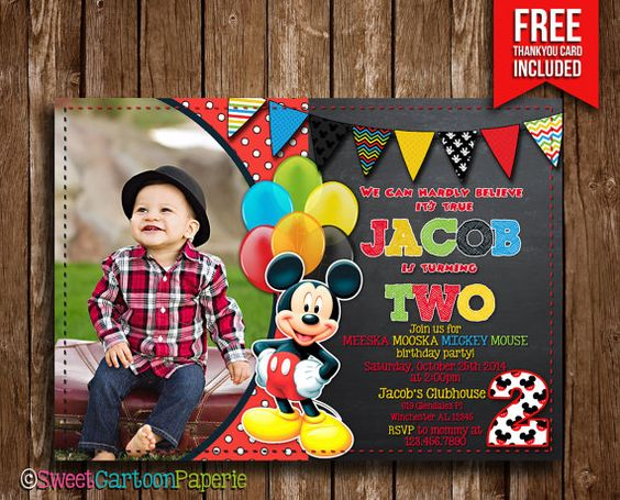 Mickey Mouse Invitation With Photo