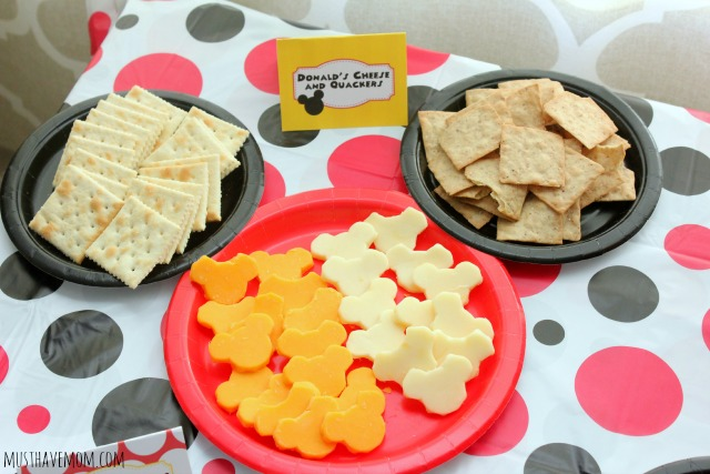 Mickey Mouse Party Food Ideas Donald Cheese and Quackers
