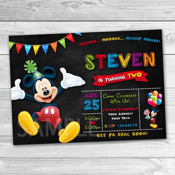 Printable Mickey Mouse Party Invitation