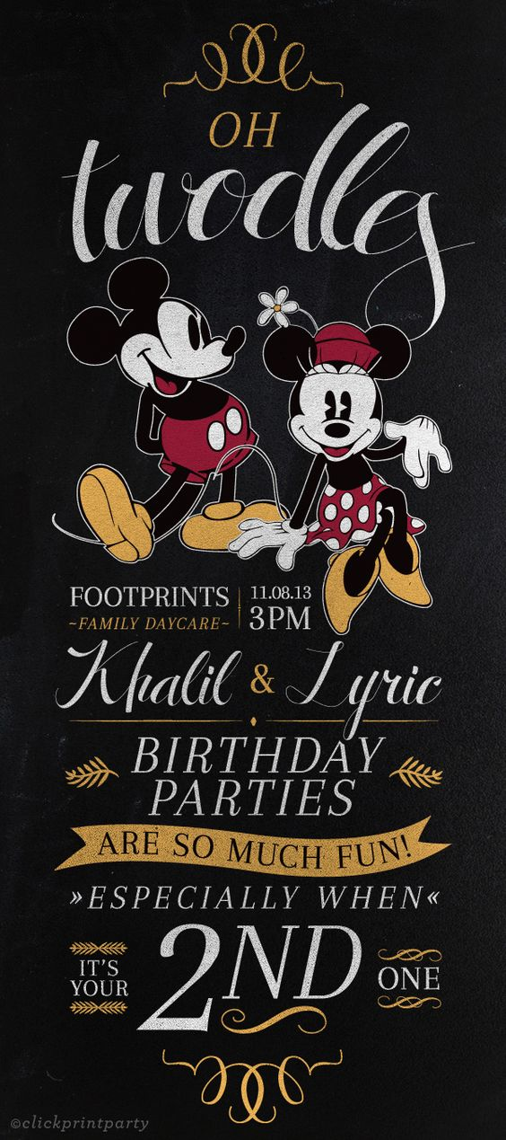 Vintage Mickey Minnie Birthday Invitation