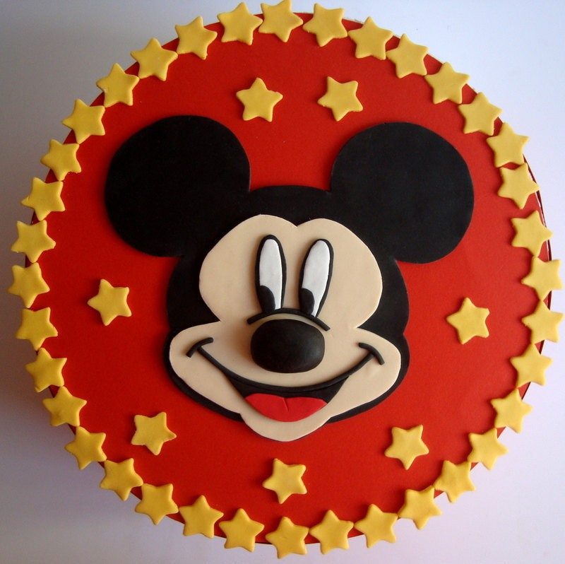 Cute Mickey Mouse Face Birthday Fondant Icing Cake Ideas And