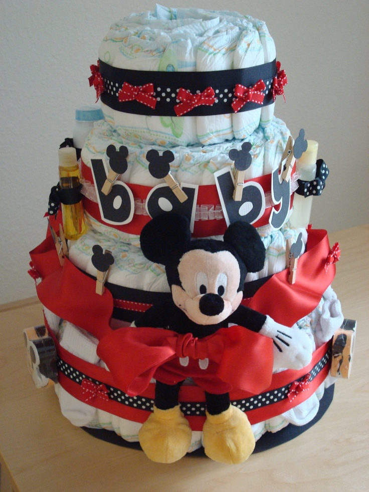Diaper Cakes, Clothespins And Mickey Mouse On Pinterest