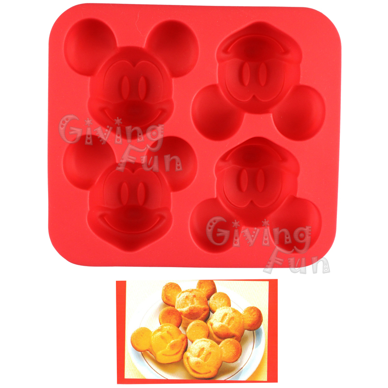 Genuine Disney Mickey Mouse 4x Shape Silicone Cake Mold Ice Jelly