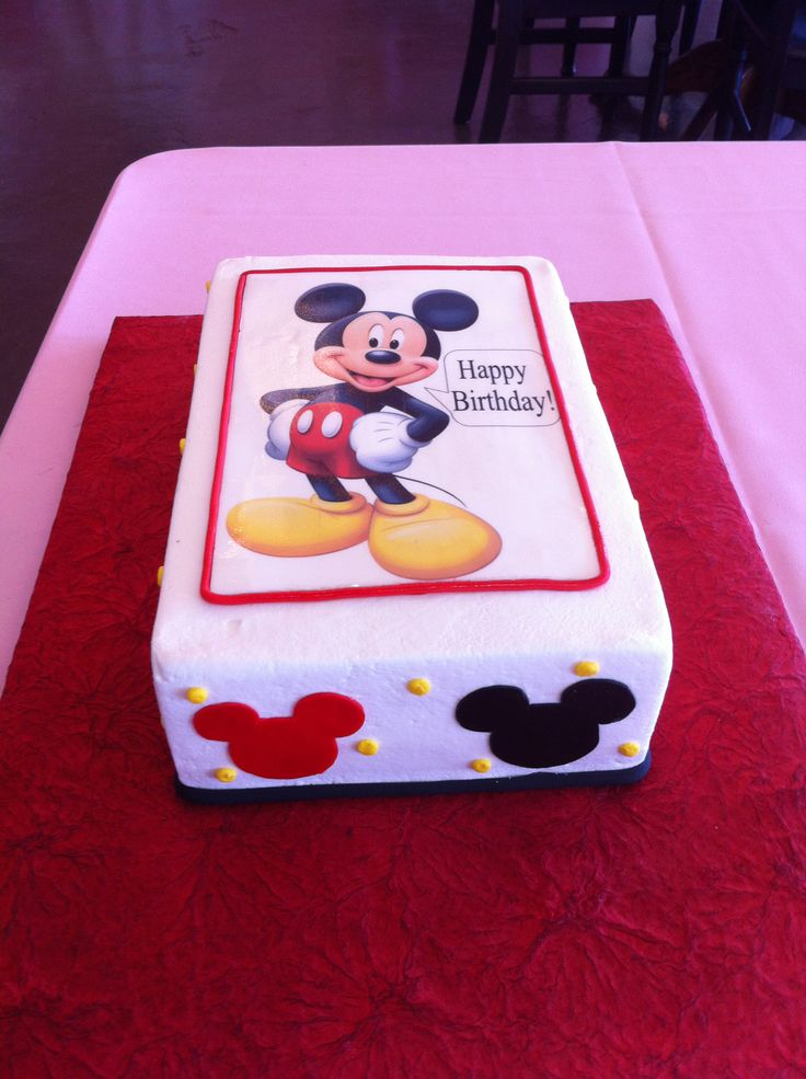 Mickey Mouse Cake  Sheet Cake  Birthday Cake  Mickey Mouse  Creme