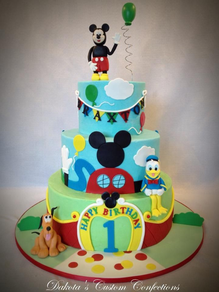 Astounding Mickey Mouse First Birthday Cakes Birthday Cards Printable Trancafe Filternl
