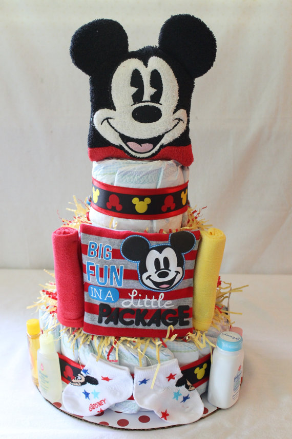 Mickey Mouse Themed Diaper Cake By Petesmommakesstuff On Etsy