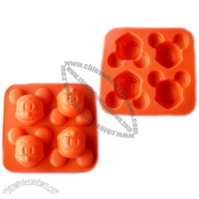 Silicone Baking Cake Mold Mickey Mouse Mold 4 Holes Suppliers