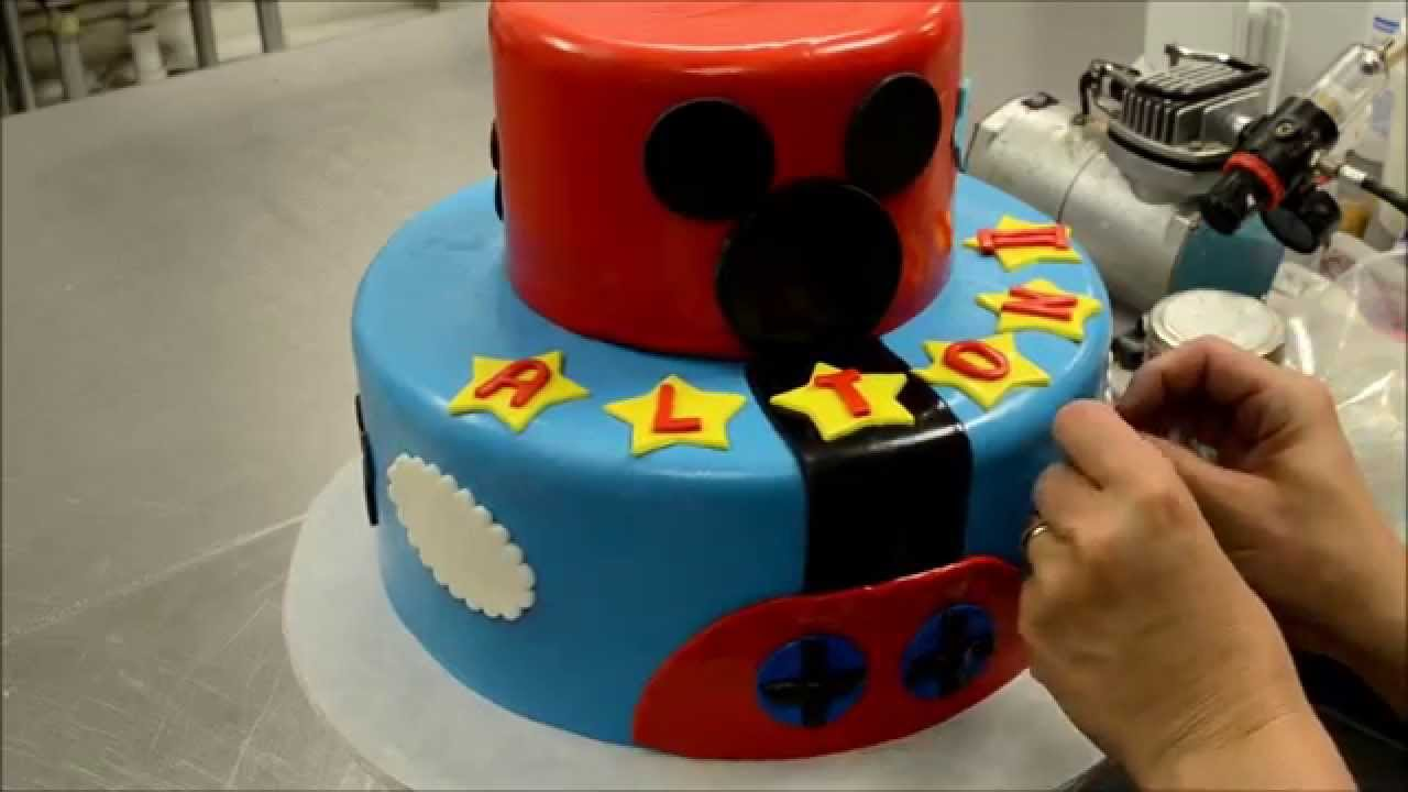 Two Tier Mickey Mouse Cake Decorating Process