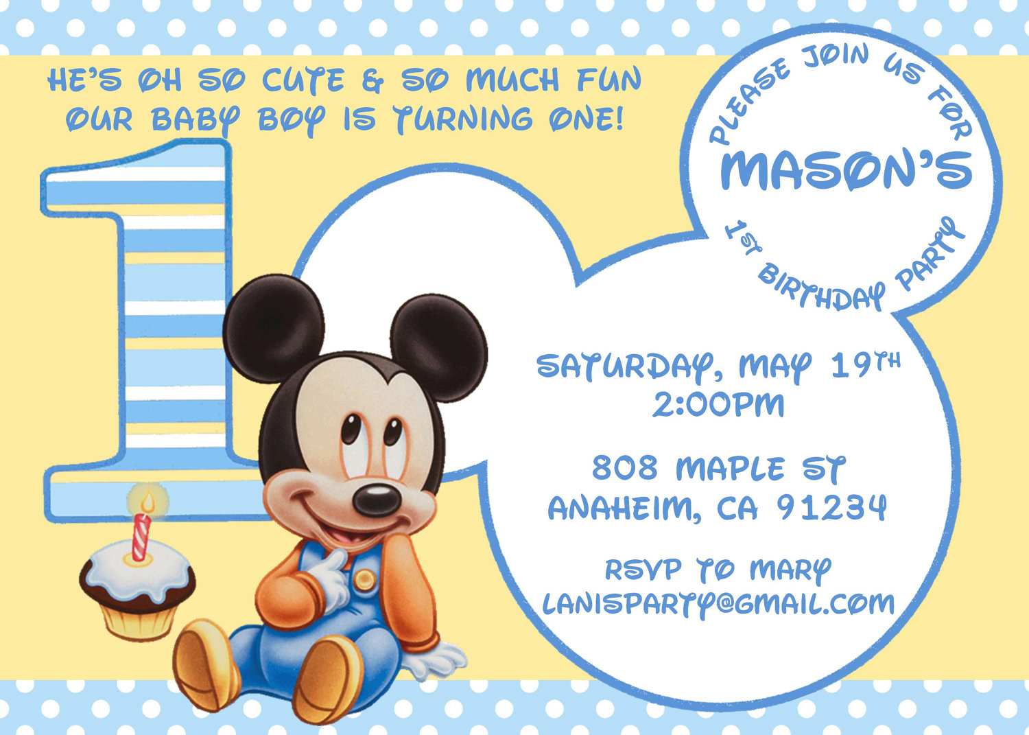 Baby Mickey Mouse 1st Birthday Invitations - Mickey Mouse Invitations Templates