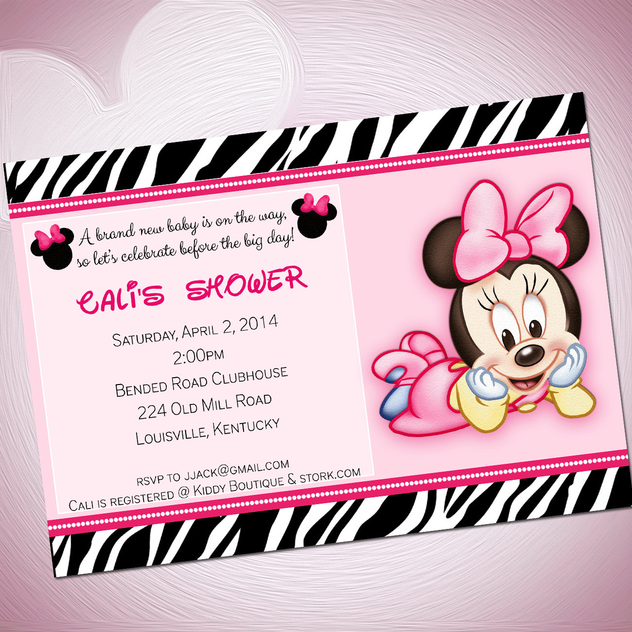 2 Beautiful Cute Mickey Mouse Baby Shower Invitations