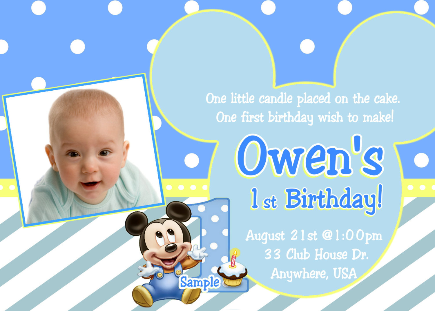 Baby Mickey 1st Birthday Invitation   Baby By Createphotocards4u