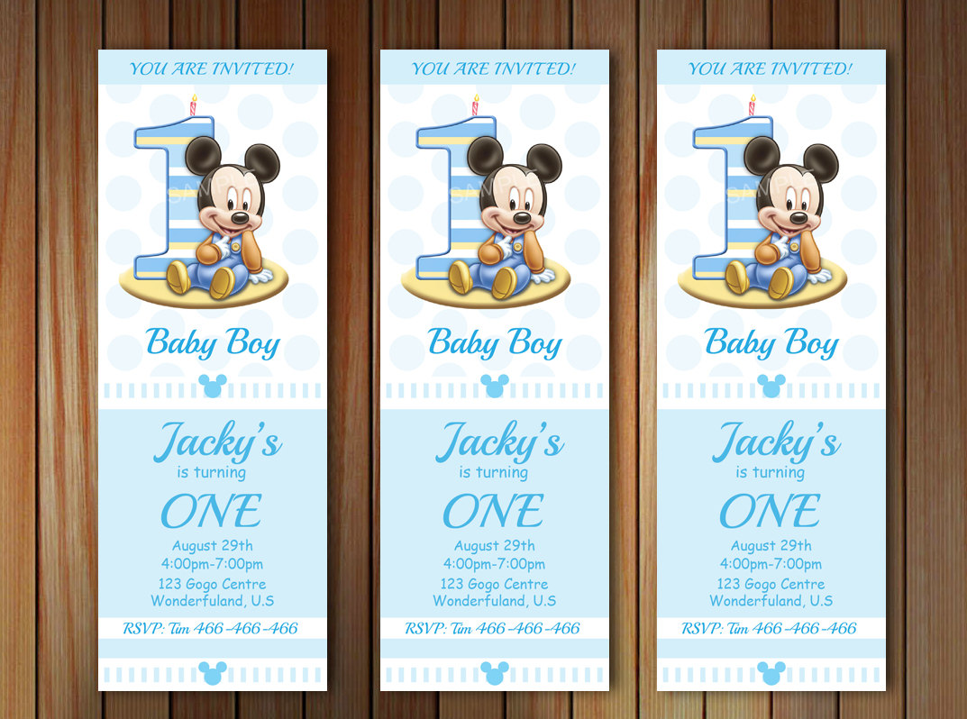 Baby Mickey Mouse 1st Birthday Invitation Baby By Pastagetti