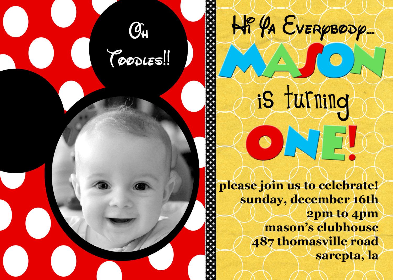 Phenomenal Mickey Mouse Birthday Invitations Wording Birthday Cards Printable Nowaargucafe Filternl