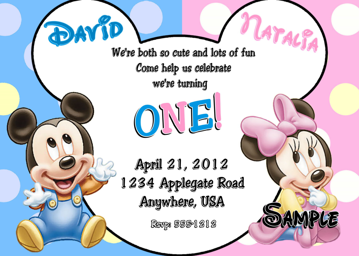 Baby Mickey Mouse & Baby Minnie Mouse Twins By Createphotocards4u
