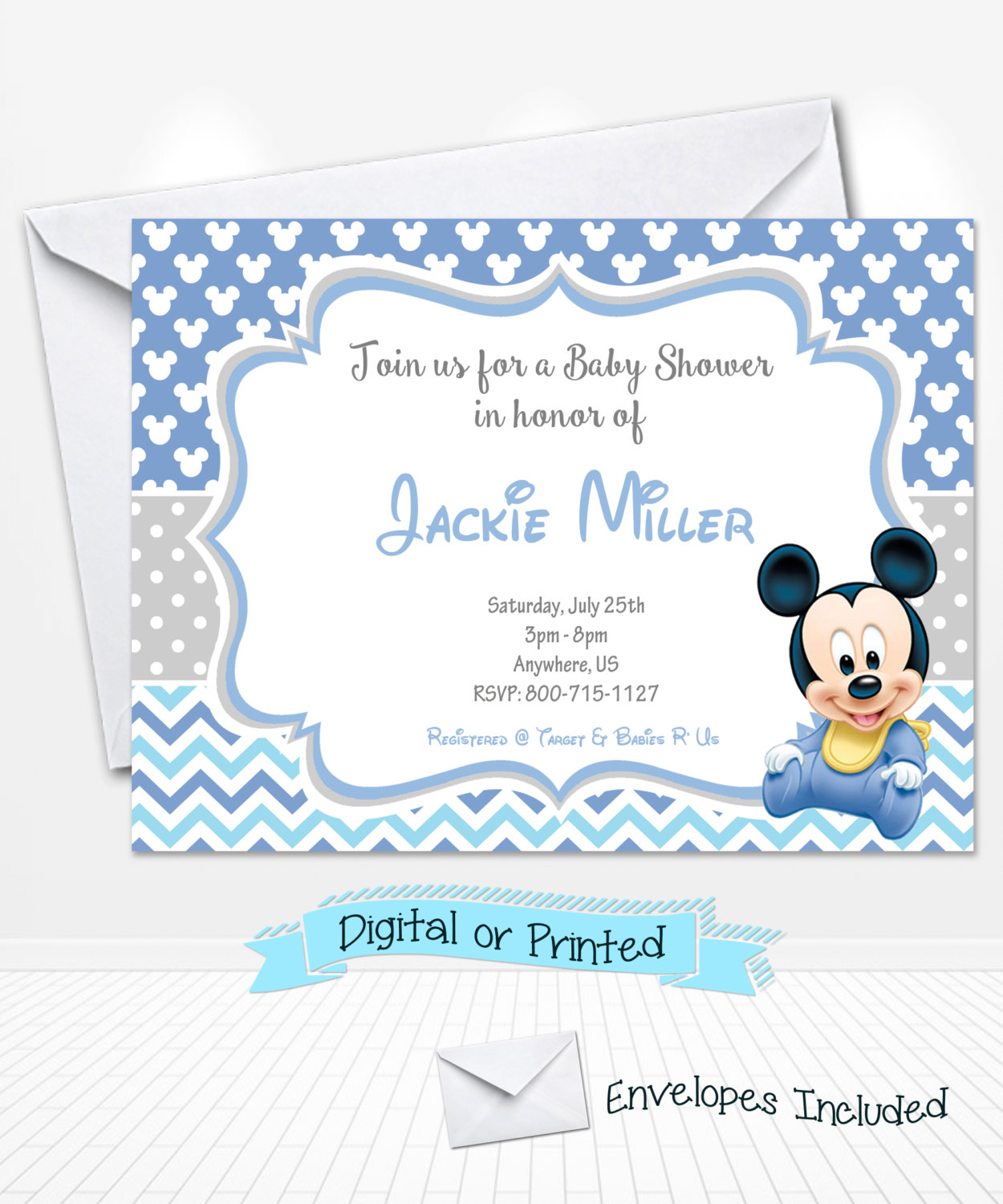 mickey mouse baby shower invitations  gangcraft, Baby shower
