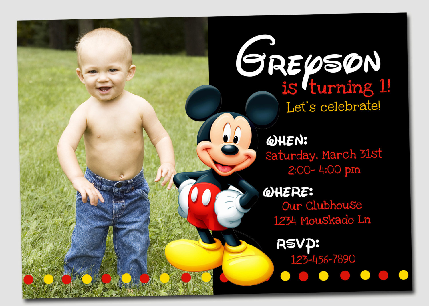 Birthday Invites  Download Best 10 Mickey Mouse Birthday