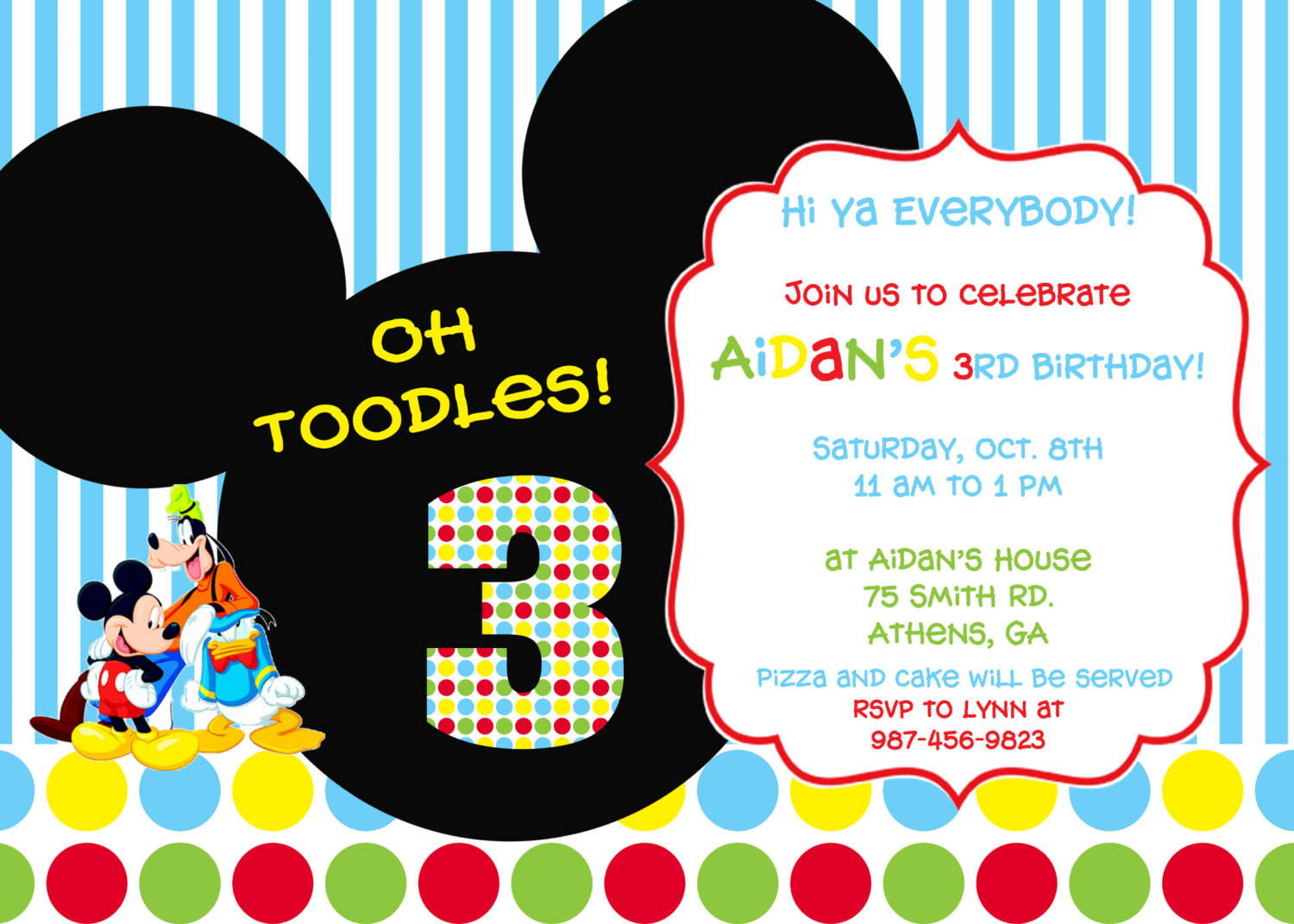 Colorful Mickey Mouse Clubhouse Party Invitation By Cohenlane