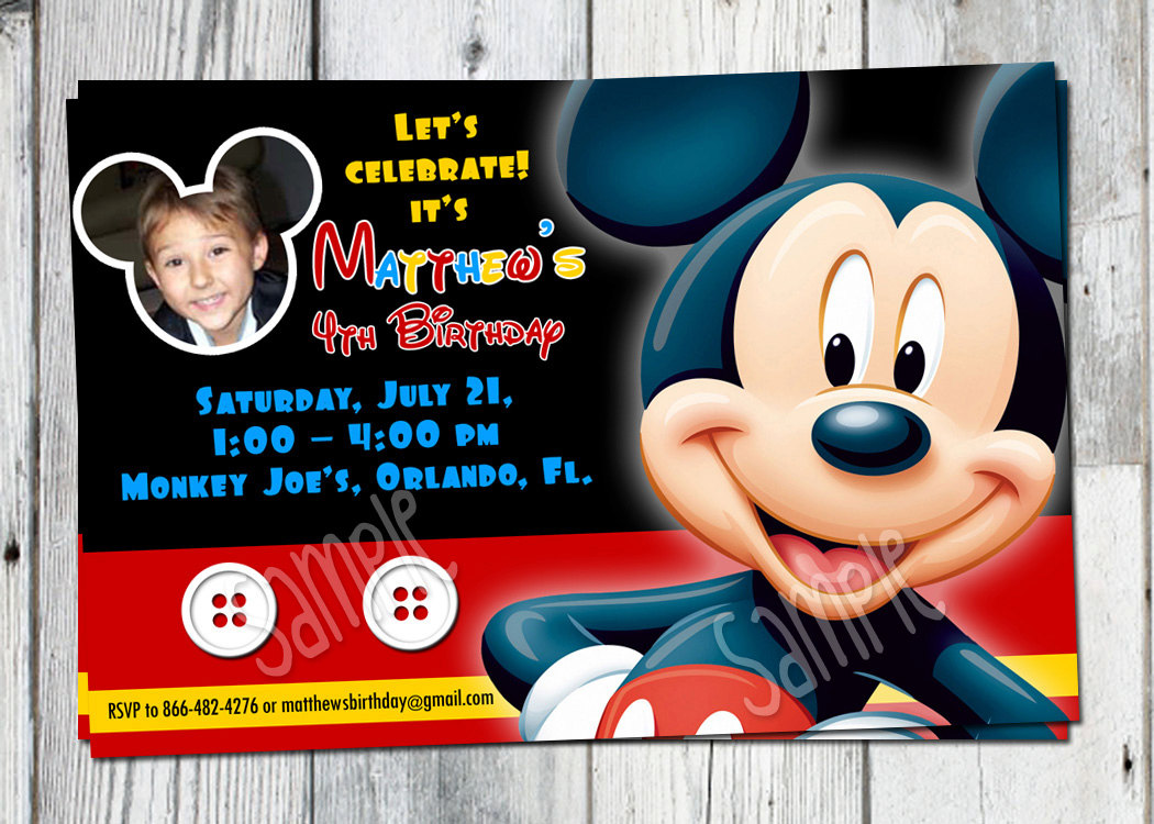 Custom Mickey Mouse Birthday Invitations Cards Ideas With Custom