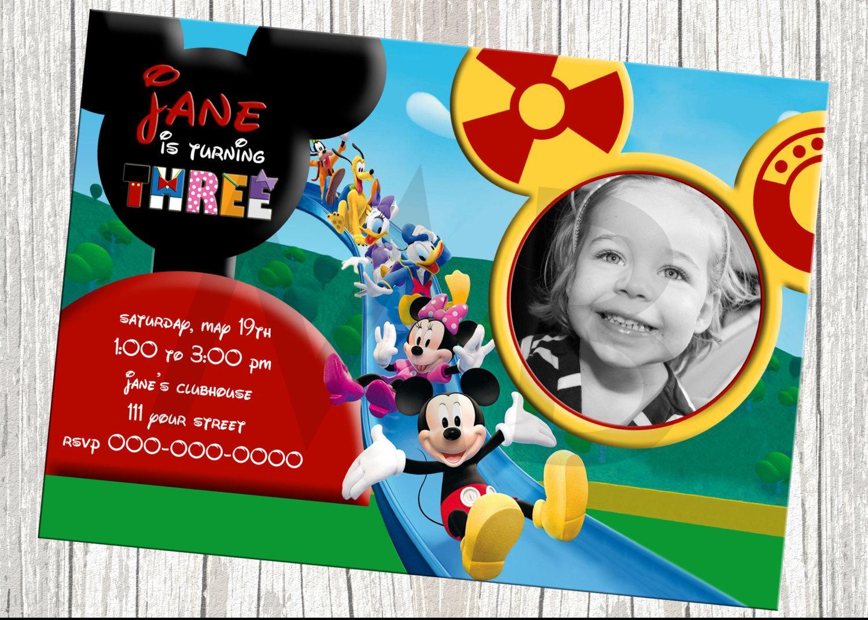 Custom Mickey Mouse Birthday Invitations Cards Ideas With Custom