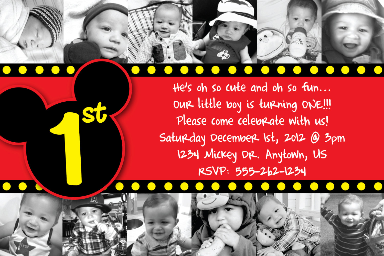 Custom Mickey Mouse Invitation Or Thank You By Heatherscreations11