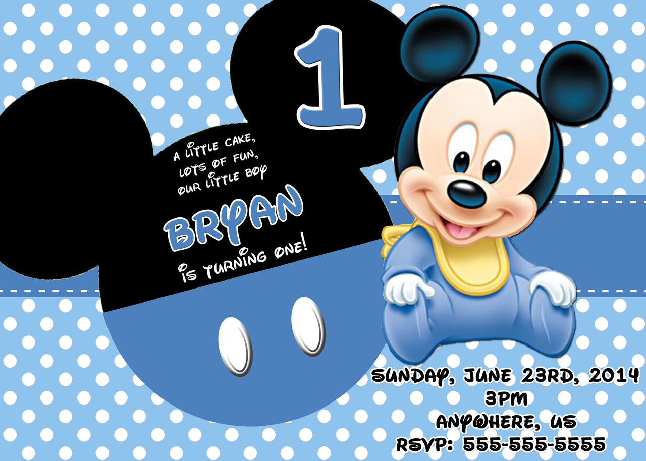 Baby Mickey Mouse Invitations Birthday - Mickey Mouse Invitations Templates