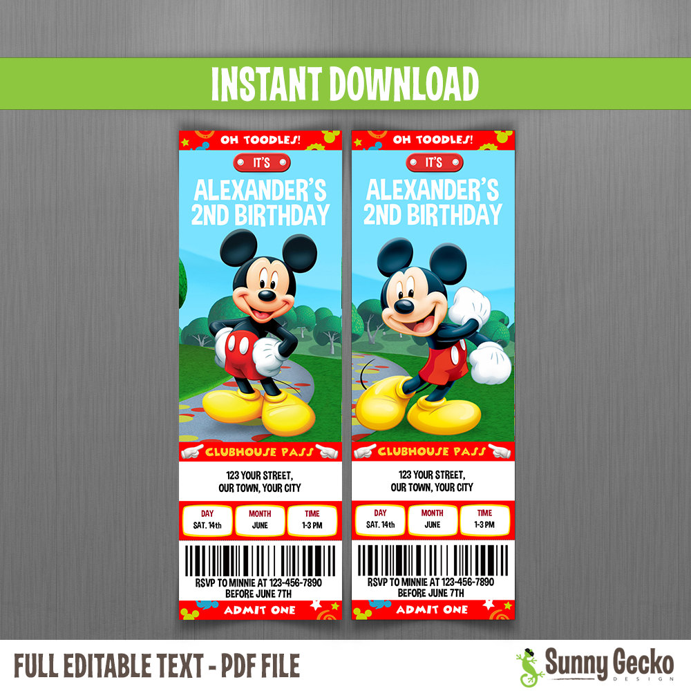 Disney Mickey Mouse Clubhouse Birthday Ticket By Sunnygeckodesign