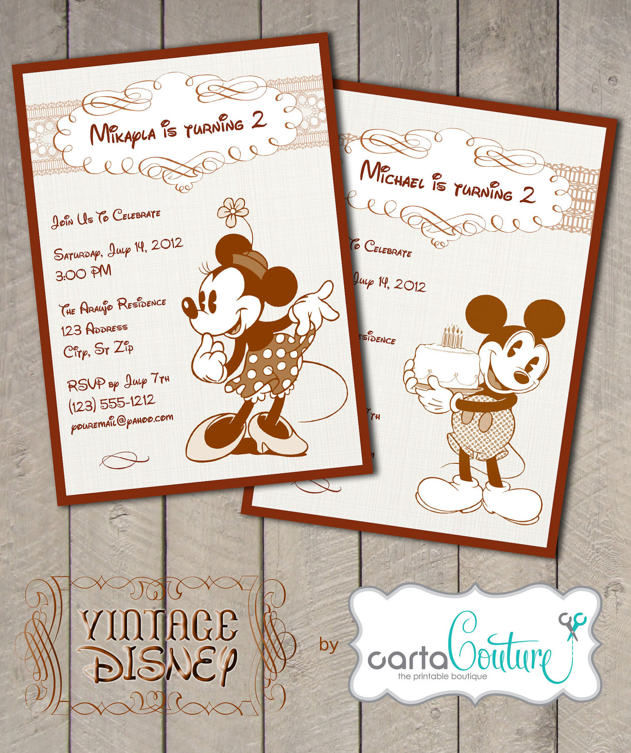 Disney Vintage Classic Mickey Or Minnie Mouse Diy By Cartacouture