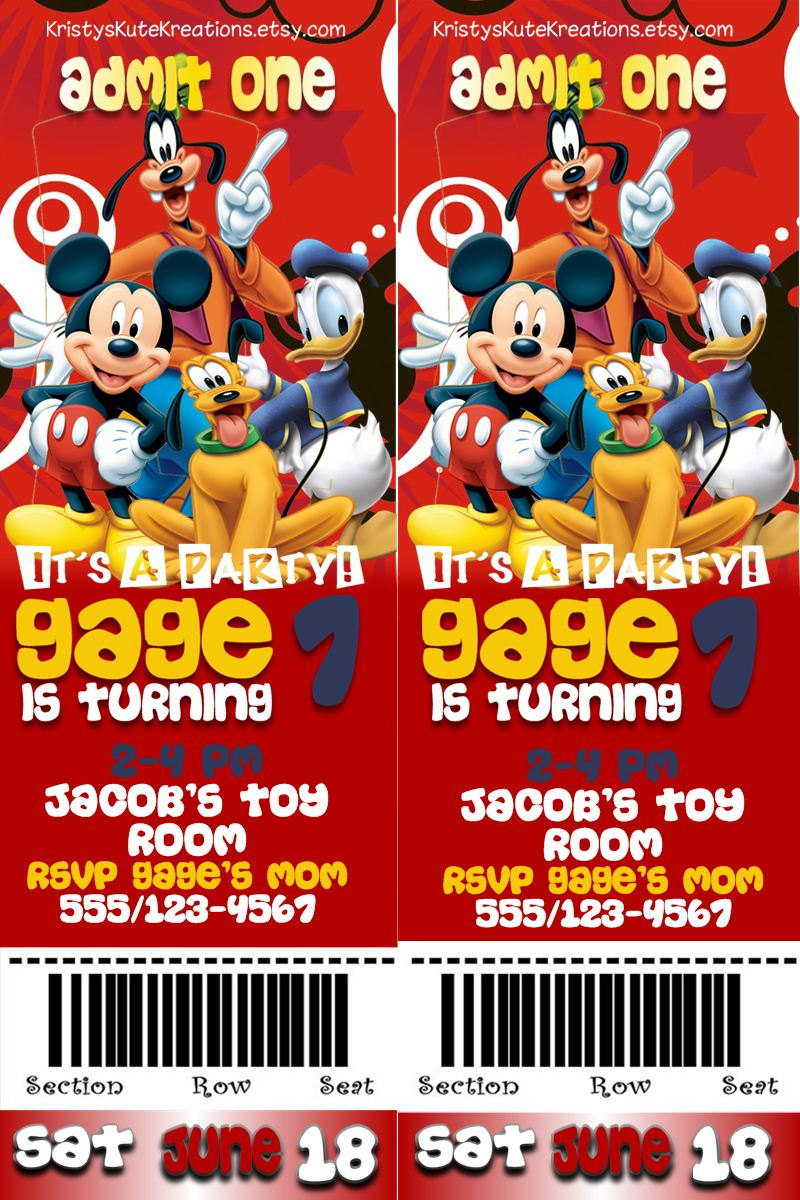 Disney's Mickey And Gang Admit One Ticket By Kristyskutekreations