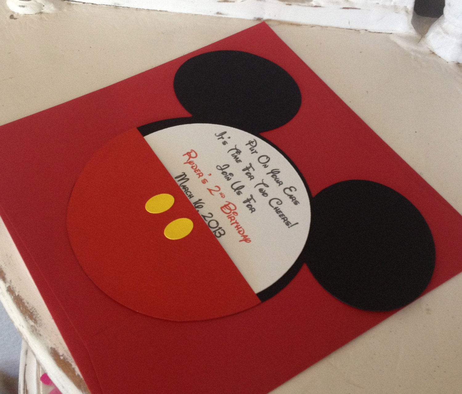 Handmade Custom Red Mickey Mouse Birthday By Whimzycreations