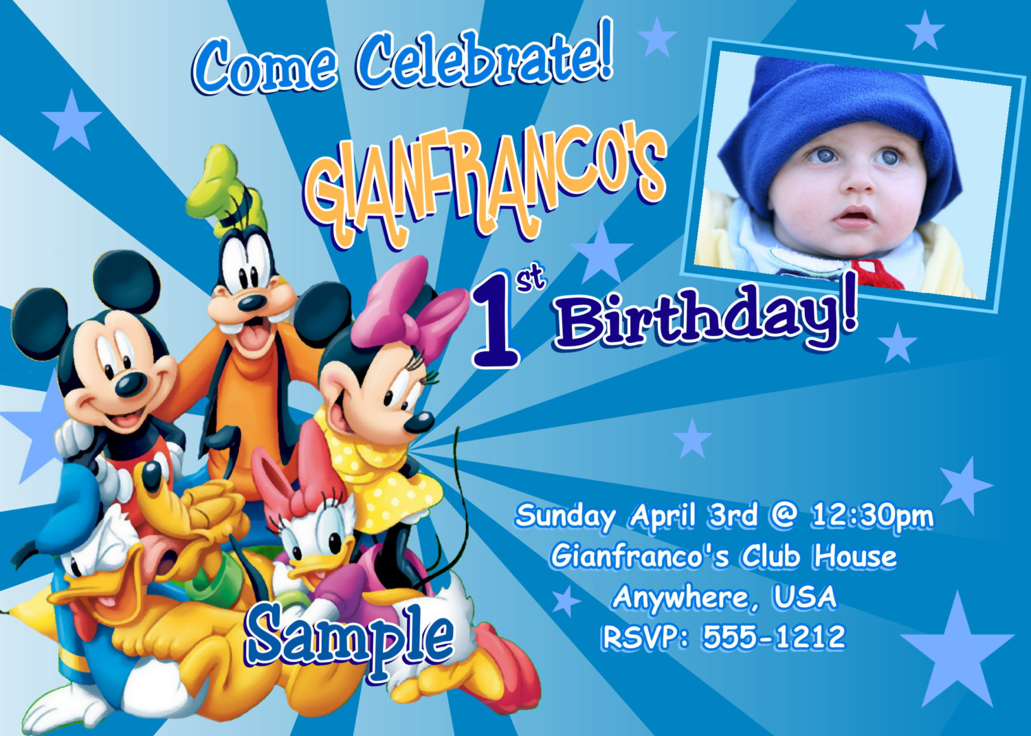 Jb44 Mickey Mouse Gang Birthday Invitations