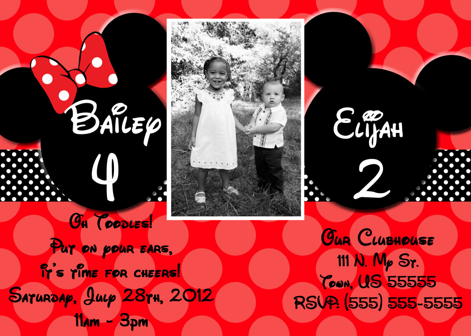 Joint Mickey And Minnie Mouse Invitations Or Thank By Skyecreation