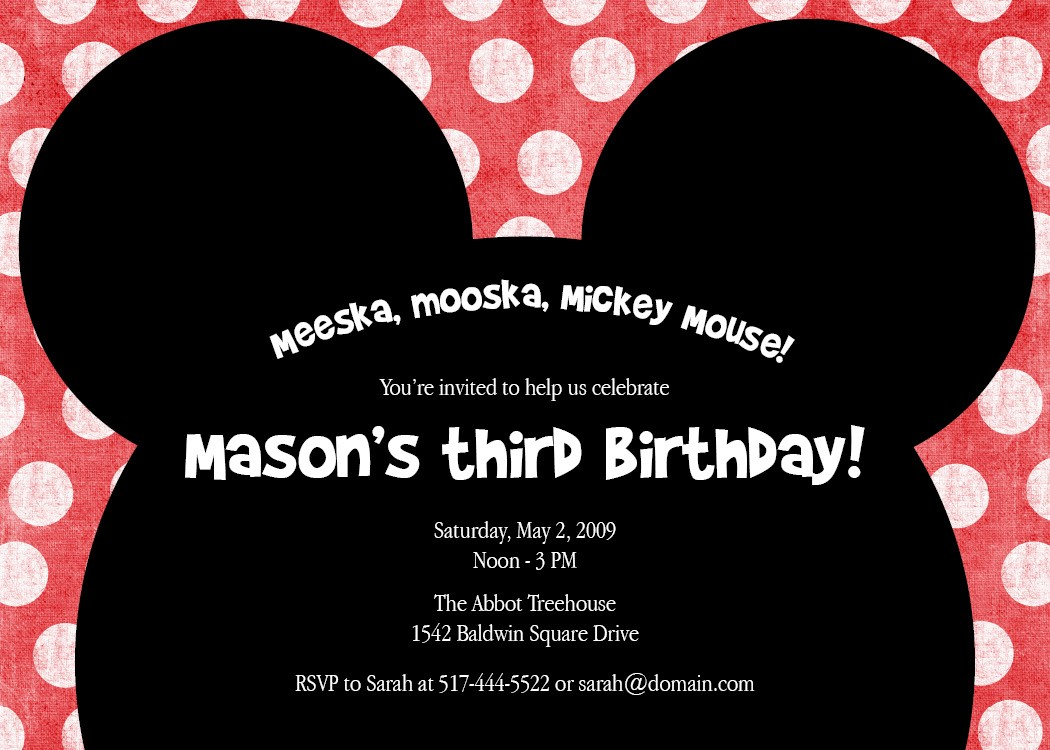 Mickey mouse birthday invitations wording birthday invitation wording meeska mooska a cute mickey mouse by saralukecreative stopboris Image collections