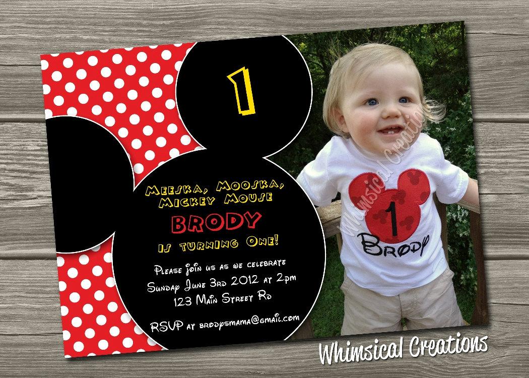 Mickey Mouse 1st Birthday Custom Invitations – Birthday Card Ideas