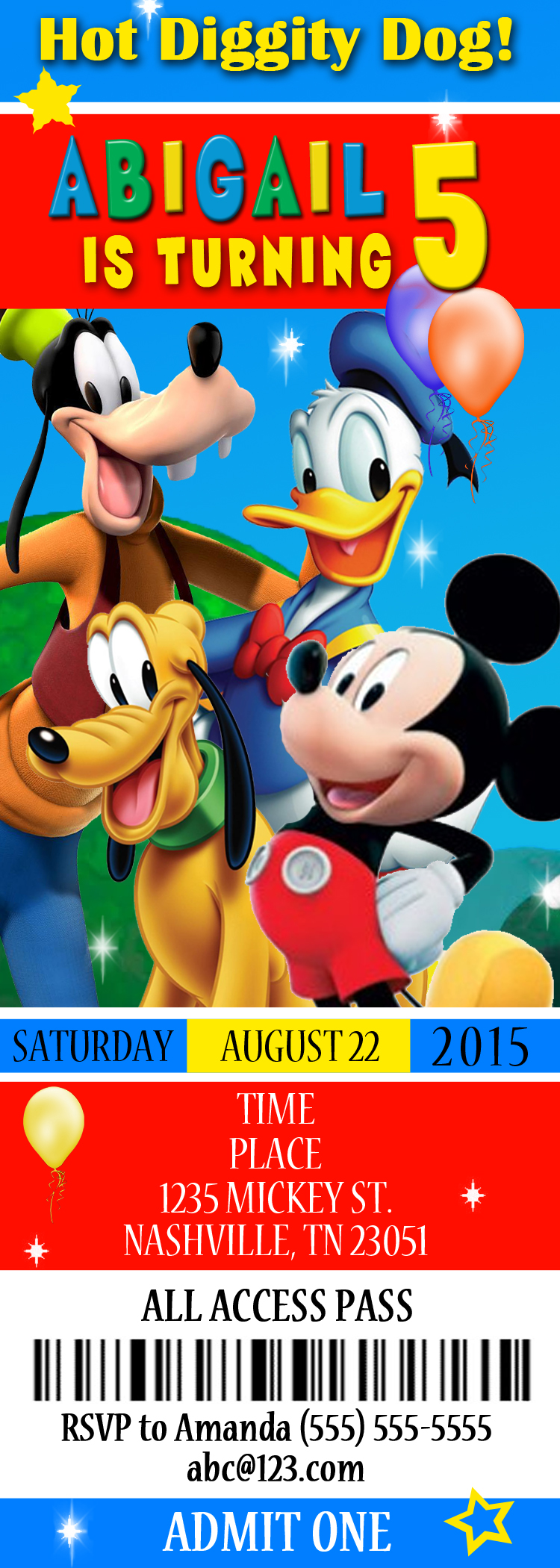 Mickey Mouse And Mickey Mouse Clubhouse Birthday Invitations