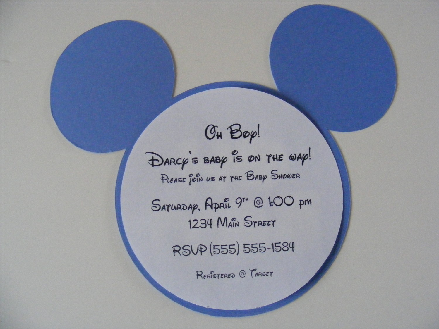Mickey Mouse Baby Shower Invitation Design