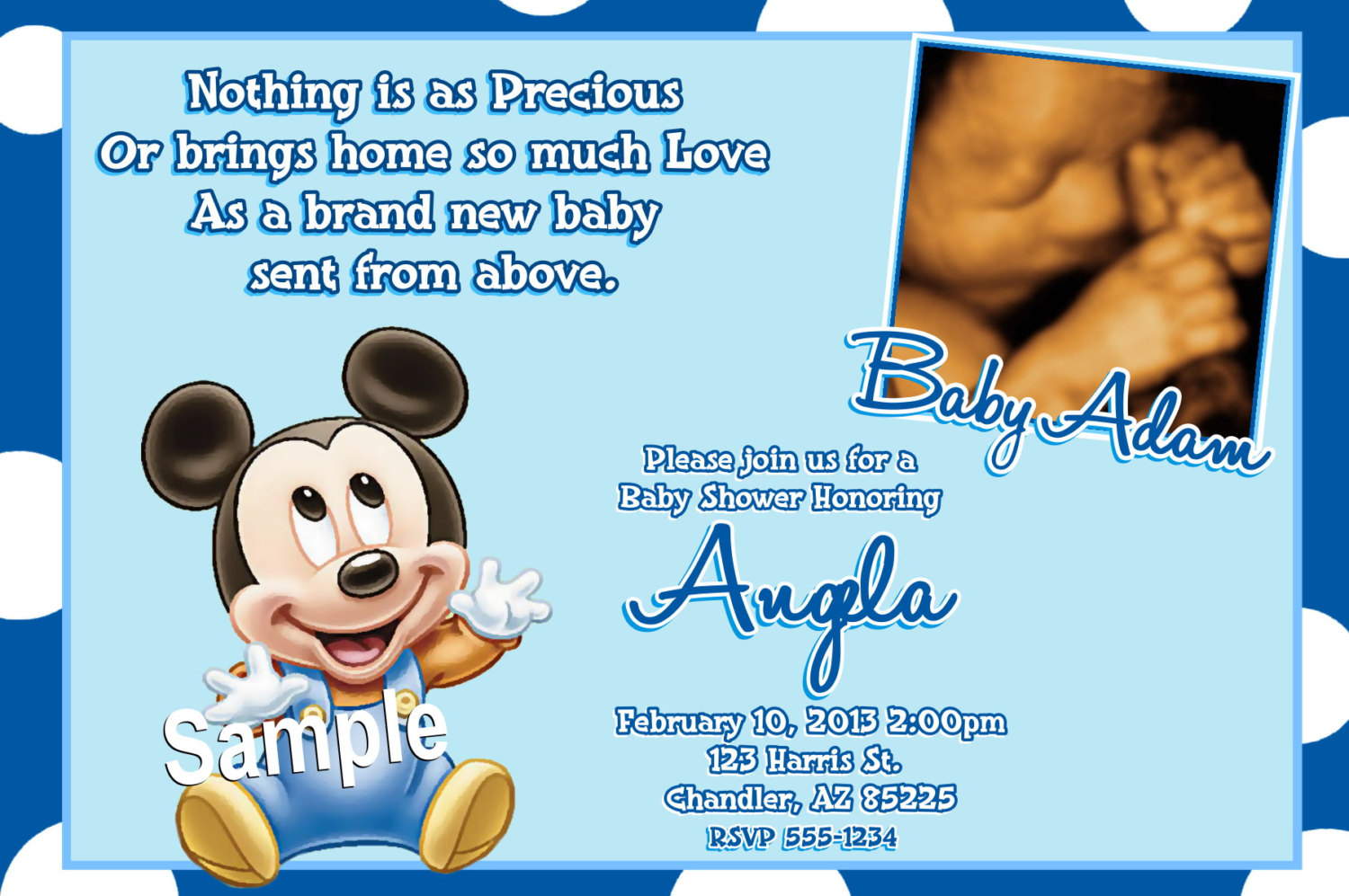 Mickey Mouse Baby Shower Invitations Baby By Createphotocards4u