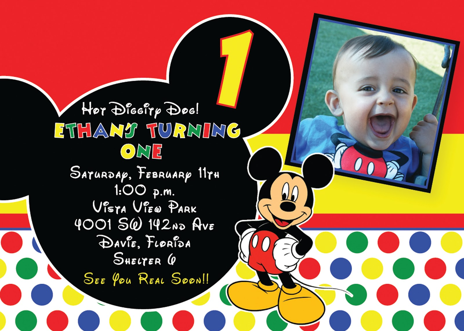 Mickey Mouse Birthday Invitation Mickey Mouse Birthday Invitation