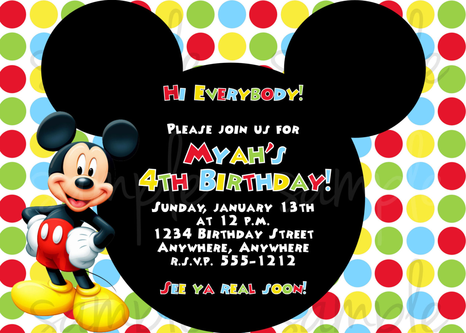 Mickey Mouse Birthday Invitation Wording Mickey Mouse Invitations