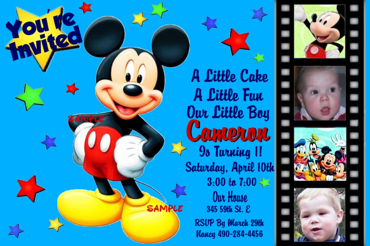 Mickey Mouse Birthday Invitations Free