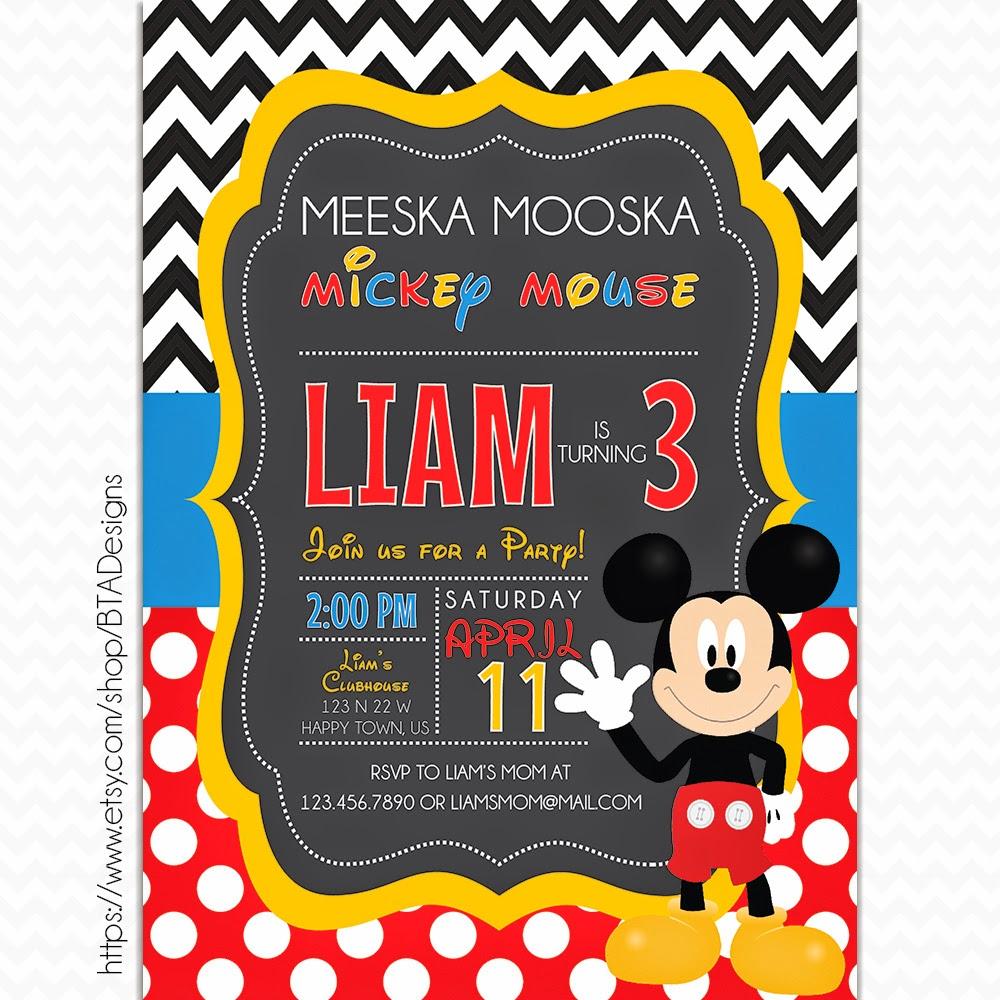 Mickey Mouse Birthday Invitations Free