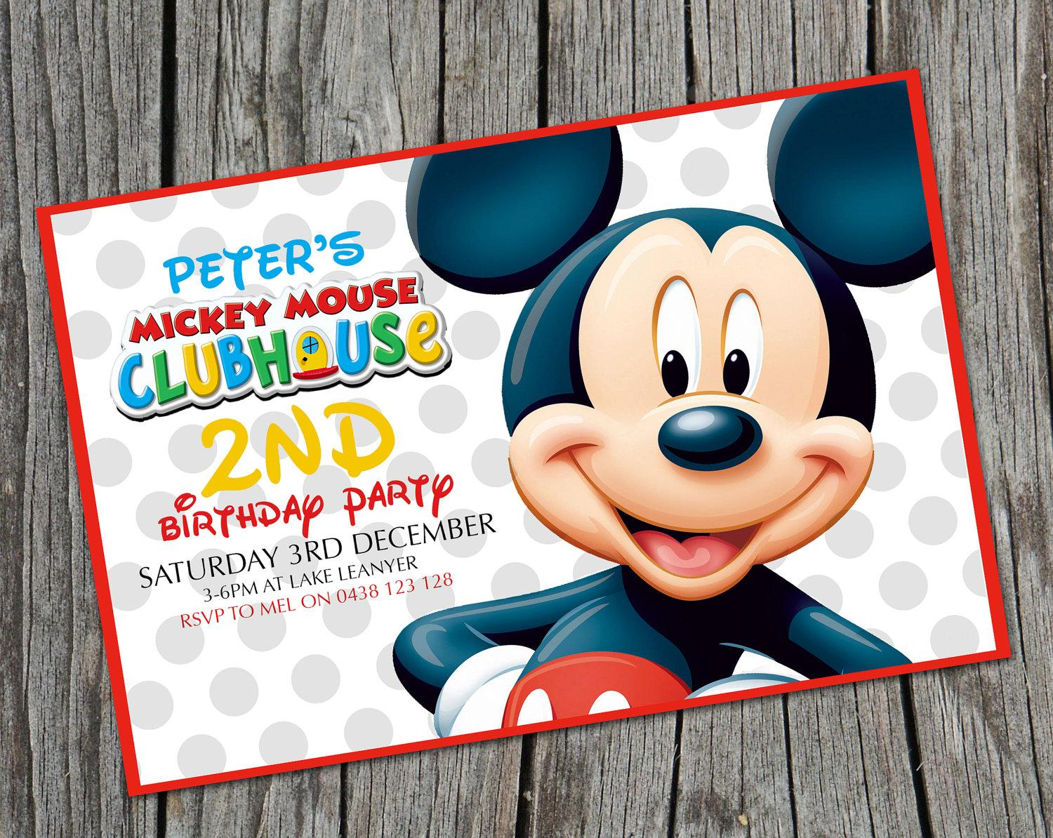 Free Printable Mickey Mouse Birthday Party Invitations - Mickey ...