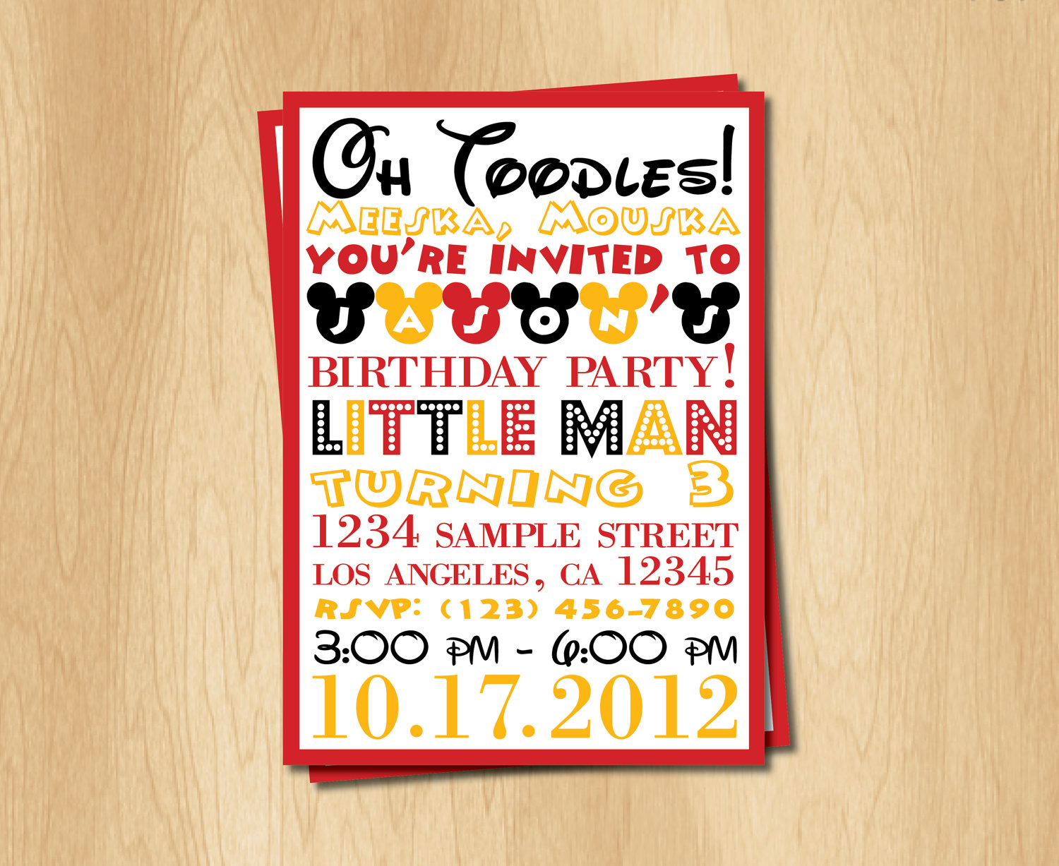 Homemade Mickey Mouse Birthday Invitations - Mickey Mouse ...