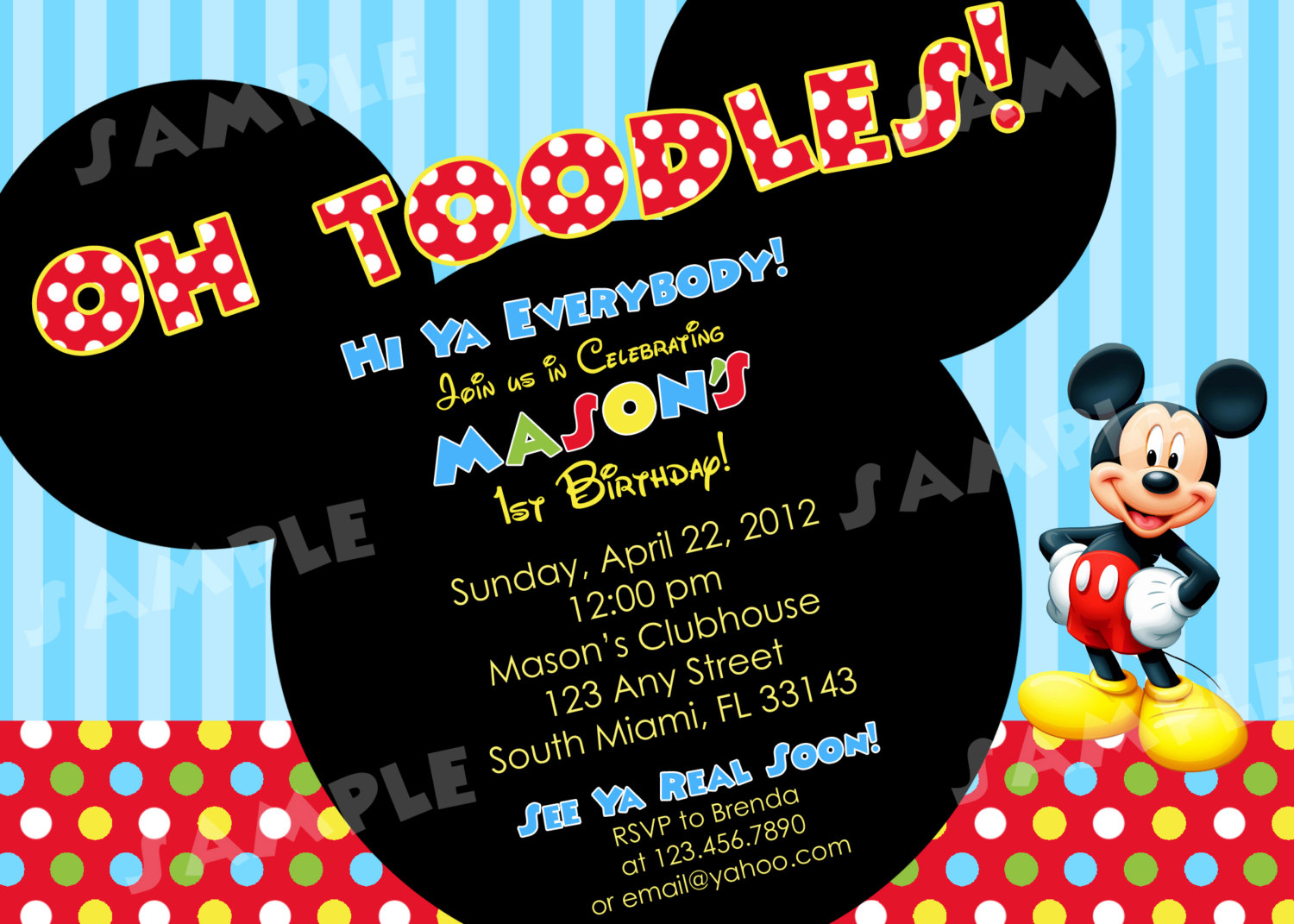 Mickey Mouse Clubhouse 1st Birthday Invitations