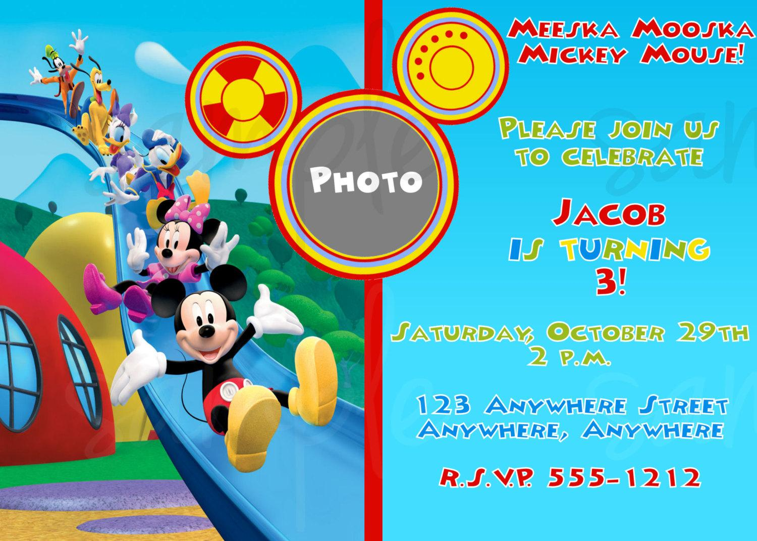 Mickey Mouse Clubhouse Birthday Invitation Cards Ideas With Mickey